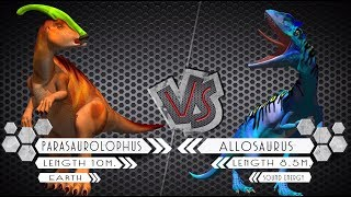 Parasaurolophus VS Allosaurus Dinosaurs Colosseum Battle