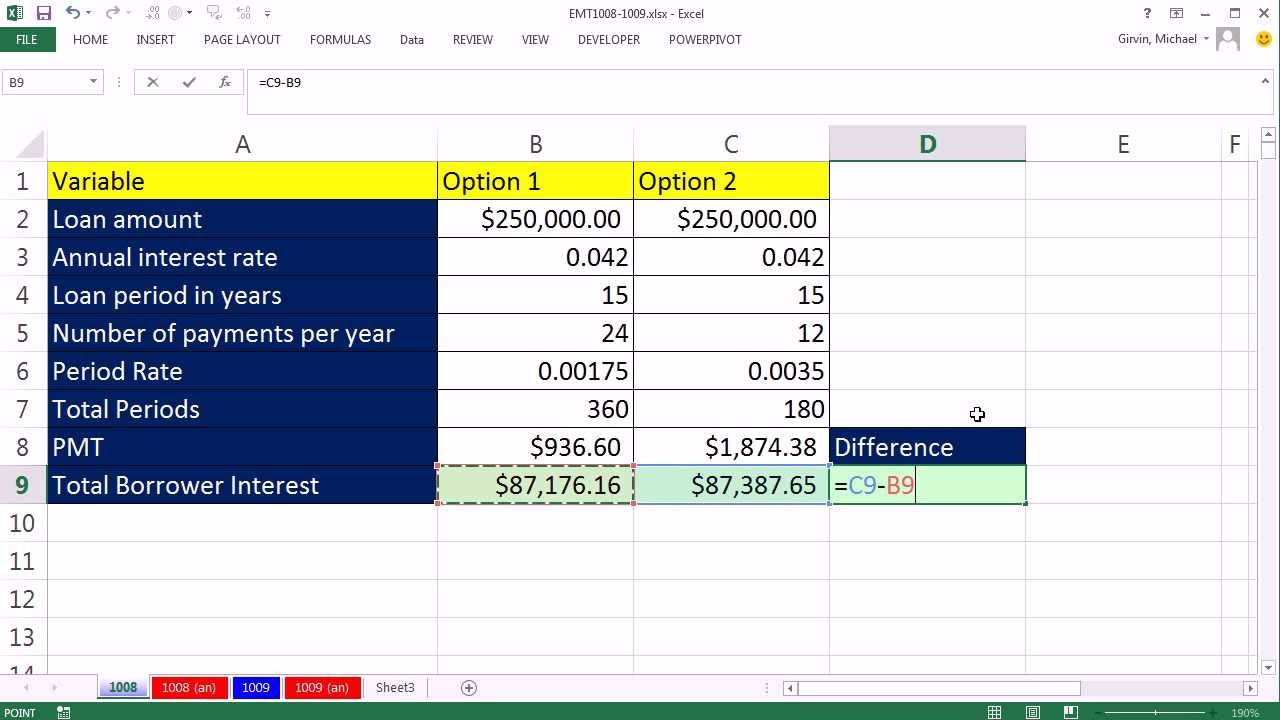 excel magic trick 1008 cumipmt function compare interest paid on