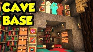 Minecraft CAVE House Survival Base Tutorial (How to Build) [Design Tour Ideas]