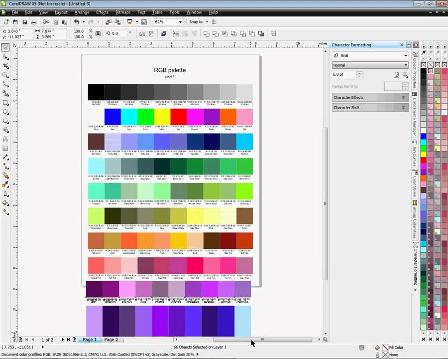 Creating A Color Chart For Coreldraw X4 And X5 Youtube