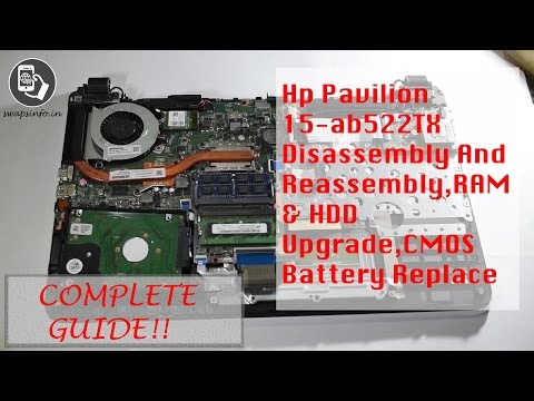 Hp Pavilion 15-ab522TX Disassembly And Reassembly,RAM & HDD Upgrade,CMOS Battery Replace