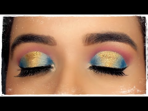blue golden cut crease eye makeup tutorial   youtube