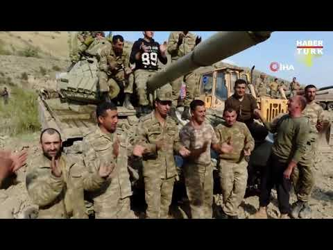 Türkün kolu bükülmez Türkün beli eğilmez _ Azerbaycan askerleri ve ele geçirdikleri tank
