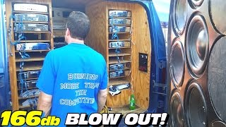 Mike's 166+DB Sound System BLOWS Windshield OUT w/ Blown Amplifier & TORN Subwoofer Surrounds