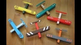 5 Minutes to make toy air plane from popsicle stick - Kids Crafts - Easy Crafts for Kids