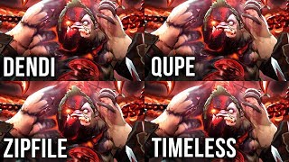 Best Pudges in The World on Epic Battle (Dendi vs Qupe vs Zipfile vs Timeless) Dota 2 EPIC Gameplay
