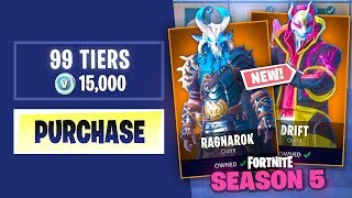 BUYING EVERY SEASON 5 BATTLE PASS TIER in Fortnite: Battle Royale