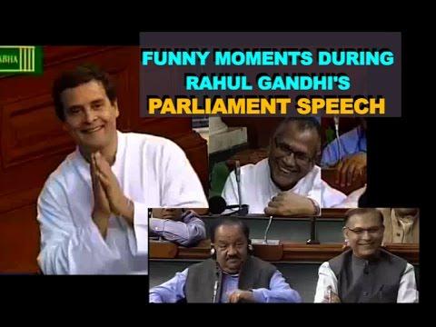 Rahul Gandhi Funny Moments during Lok Sabha Speech   MPs Laugh