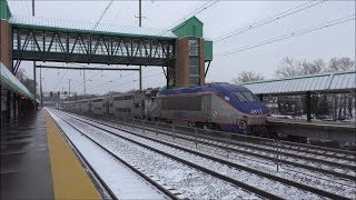 Amtrak & MARC HD 60fps: Snowy NEC Morning @ Halethorpe w/ Siemens Charger SC-44 Test Train (1/17/18)
