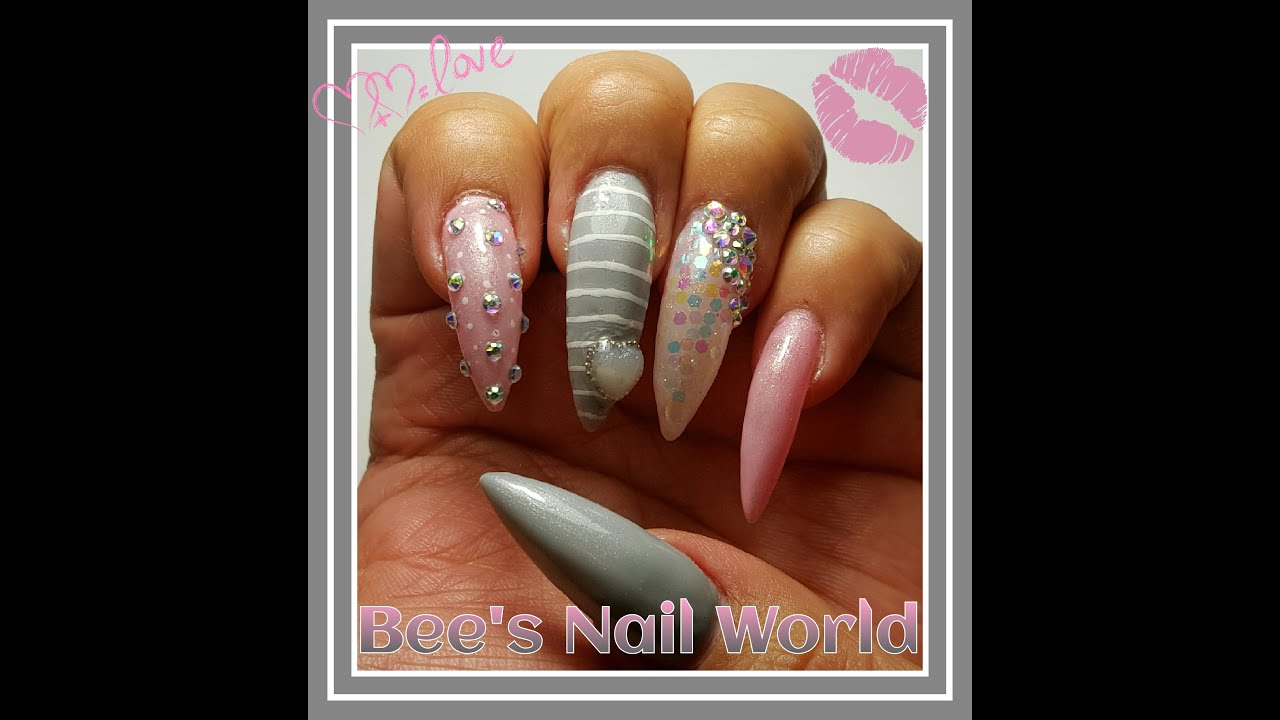 Gray Pink Long Stiletto Valentine S Day Nails Youtube