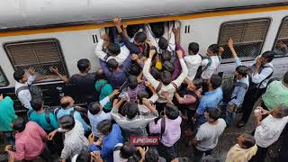 Rush hour at train station in India