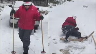 Makeshift skiing at the cabin gets laughs — and 200K views | CBC News