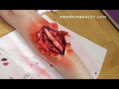 Gory Broken Leg SFX Halloween Makeup Tutorial 2017