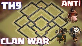 9.Seviye Köy Binası Klan Savaşı Düzeni -Anti binici ve Anti 3 Yıldız (th9 clan war base)
