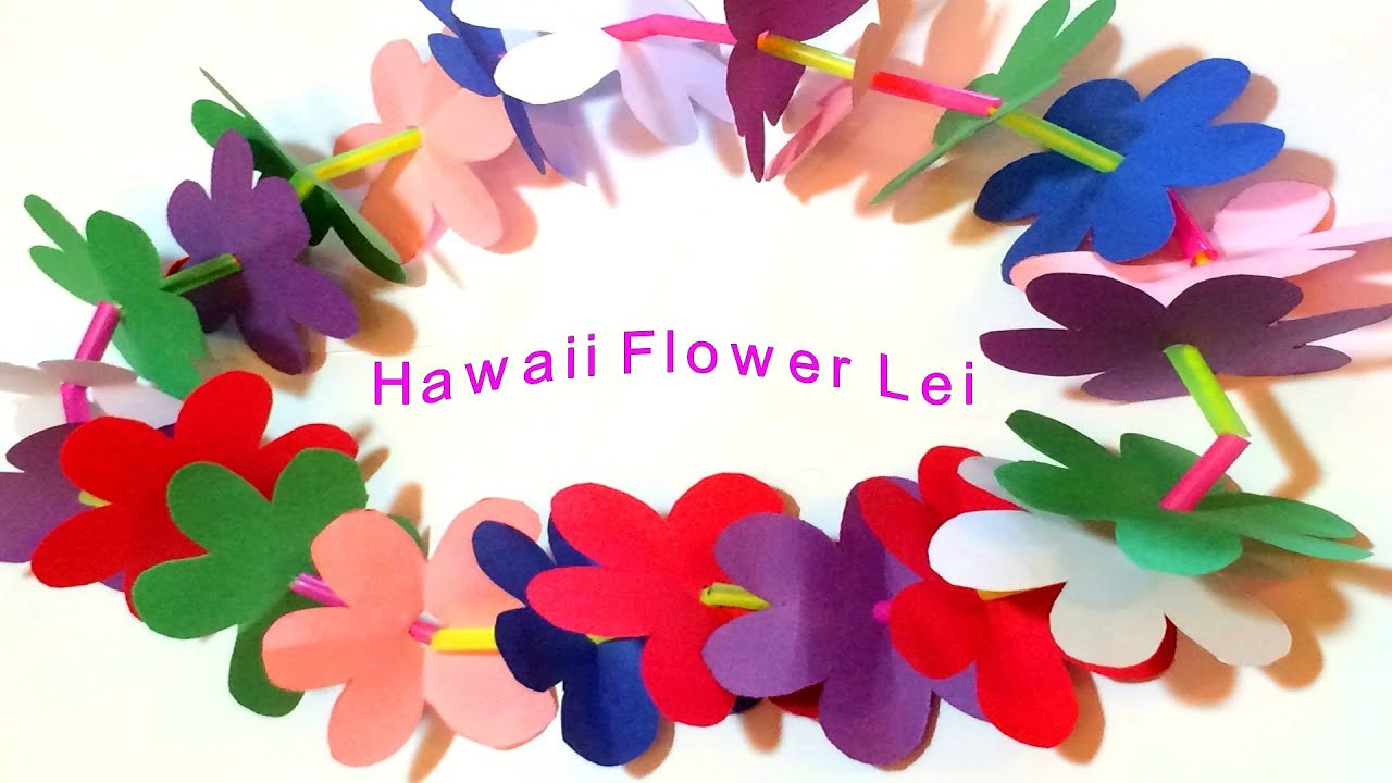 Hawaii Flower Lei Diy Paper Craft Tutorial Youtube