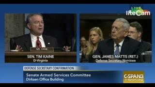 Sen. Tim Kaine Questions DoD Secretary Nominee James Mattis (1/12/17)