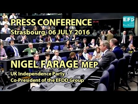 Nigel Farage: Brexit - Let's Get Things Started -  Press Conference (w/audio-sync)