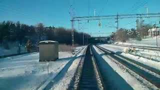 Train from Stockholm (depot) to Uppsala (FOV - Nonstop - Sweden - Winter - Max 200 KPH - 720p)