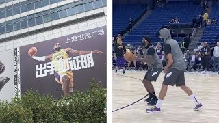 Lakers fans ERUPT in China when LeBron James is introduced! Lebron and AD warmup!