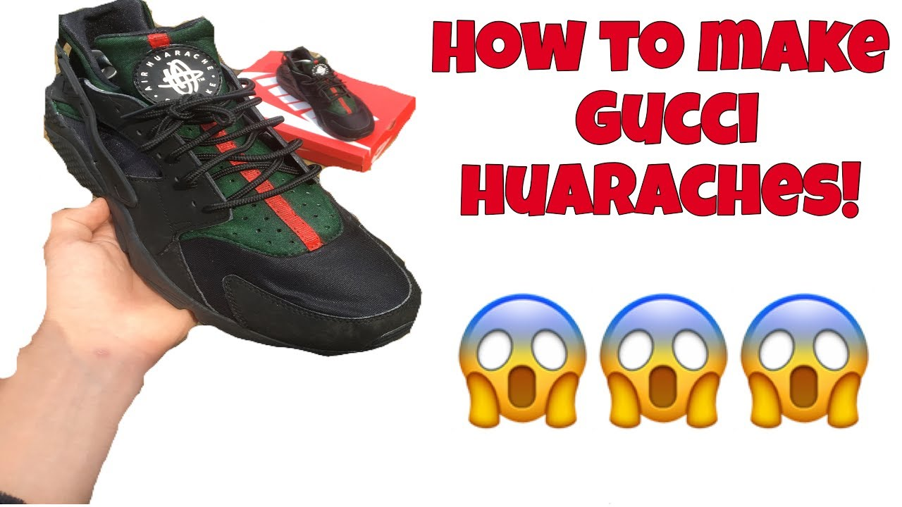 509d0f131ab0 HOW TO  CUSTOM NIKE HUARACHES (Gucci inspired) TIME LAPSE - YouTube