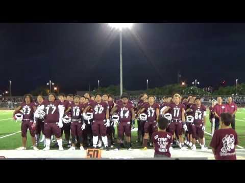 Farrington football team sings alma mater 8/4/17