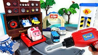 Come when you break down! Robocar Poli Wheeler's tire shop with Tayo and Musty! - DuDuPopTOY