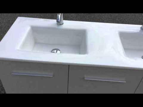 Meuble salle de bain Design contemporain 130cm avec Colonne 180cm