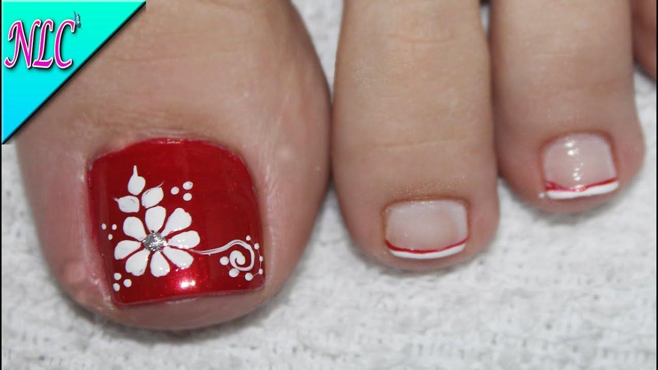 Diseño De Uñas Para Pies Flor Para Principiantes Muy Fácil Flowers Nail Art Nlc