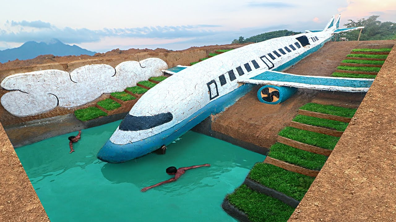 120 Days How I Build Water Slide Planes Park into Swimming Pool House Underground