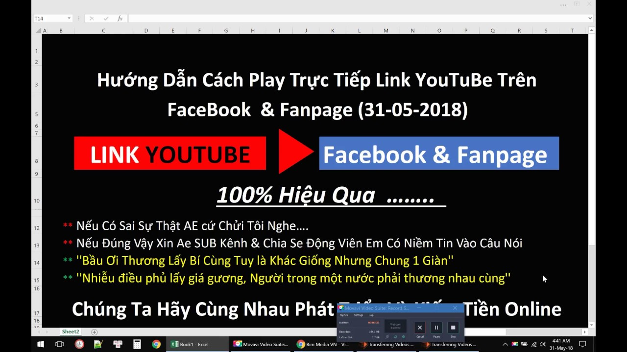 Hướng Dẫn Cách Play Trực Tiếp Link YouTuBe Trên FaceBook  & Fanpage (31-05-2018)