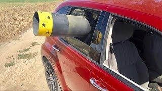 Bowling Ball Cannon inside of a Lamborghini