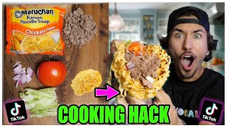 We TASTED Viral TikTok Cooking Life Hacks... (GIANT RAMEN TACOS?!) *Part 15*