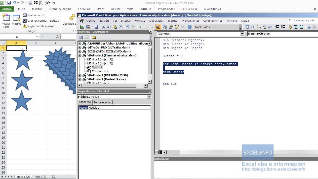 Eliminar objetos de una hoja de cálculo de Excel - YouTube