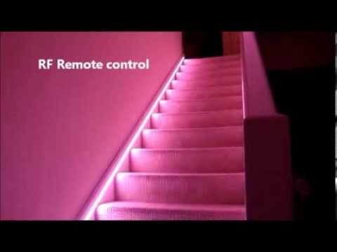 automatic stair led lighting how to do youtube. Black Bedroom Furniture Sets. Home Design Ideas