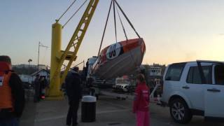 P1 Superstock Power boat  being lifted into Scarborough harbour