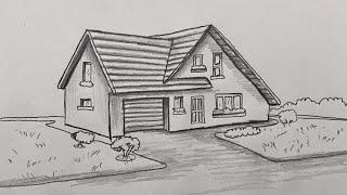 Ev Nasıl Çizilir - How To Draw House - Kolay Karakalem Villa Ev Çizimi