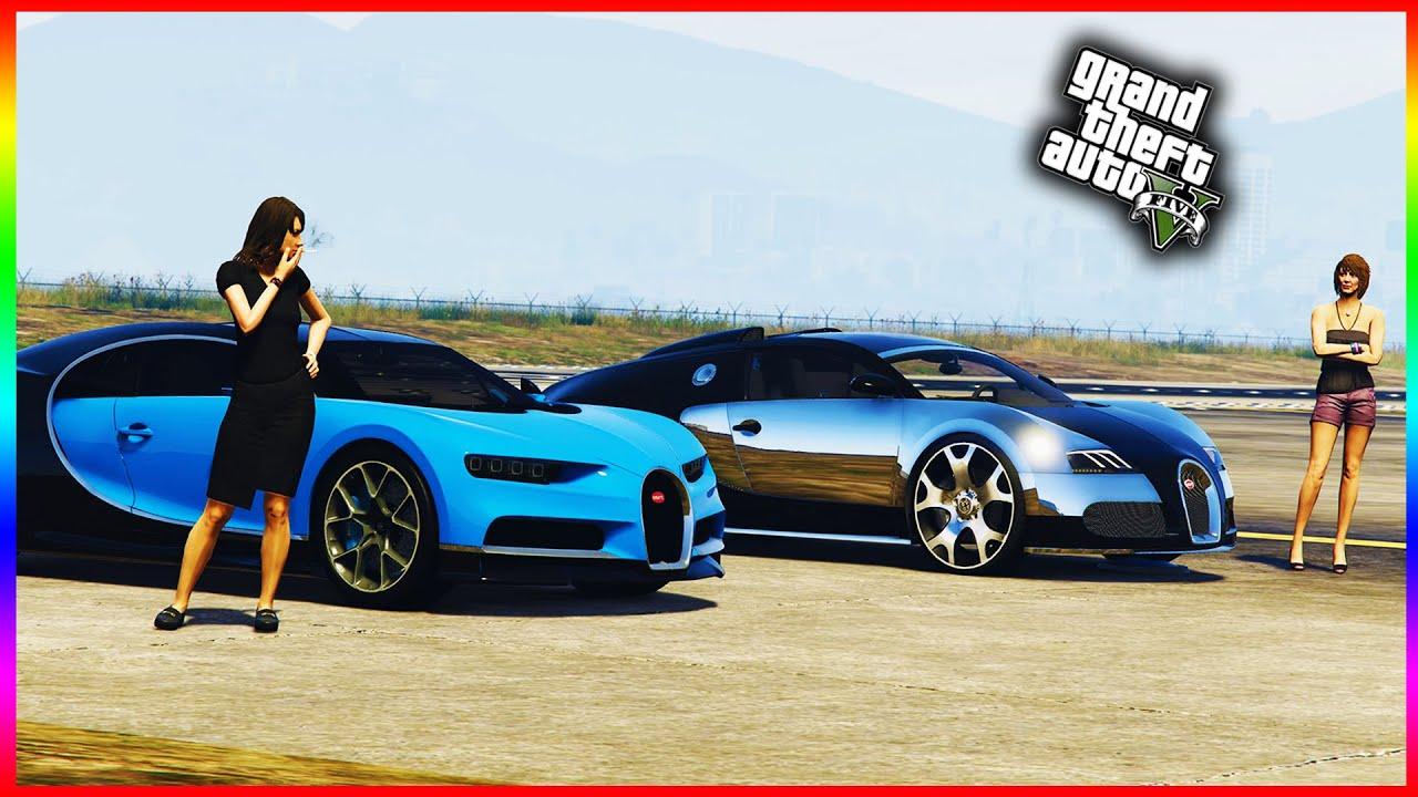 gta 5 dlc - bugatti chiron vs bugatti veyron 4k - youtube