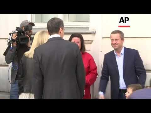 Social Democrat leader Kern arrives to vote in Austria Election