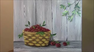 How to paint a Basket of Apples on Barnboard for Beginners ~ Acrylic