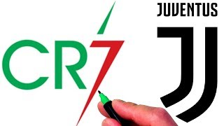 Drawing Cristiano Ronaldo CR7 and Juventus FC Logos