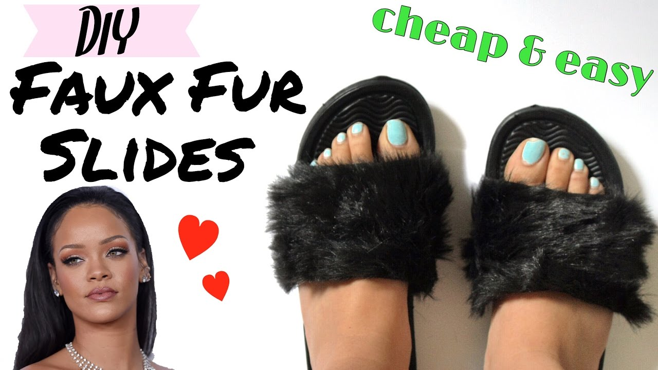 8b887ba02d63 ♡ DIY Fluffy Fur Slides ♡ Tumblr