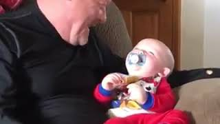 CUTIES PLAYING WITH THEIR GRANDPA...  😍😍😘😋