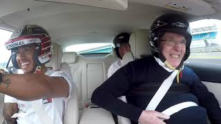 Lewis Hamilton takes Sir Frank Williams for a very special hot lap around Silverstone