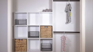 I updated the closet in our future nursery with some plywood cube shelves and clothing rods! Subscribe: https://www.youtube.com/