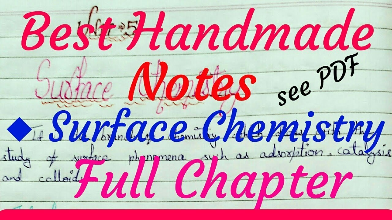 Chemistry Class 12 Unit 5 | Surface Chemistry Handmade Notes | Full  Chapter