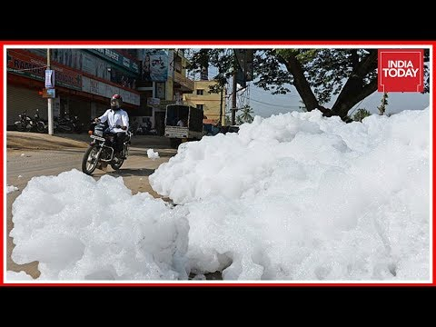 Toxic Foam From Bellandur Lake Hits Streets Of Bengaluru
