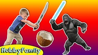 Car Wash + Coconut AX Crack! Sword Battle with HobbyBear + Pedicure Fun HobbyFamily Vlog