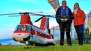 STUNNING HUGE RC CH-46 BOEING VERTOL SCALE MODEL TURBINE TANDEM HELICOPTER FLIGHT BY BERND PÖTING