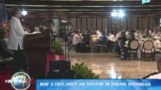 President Aquino: May 3 is special non-working holiday in Bauan, Batangas