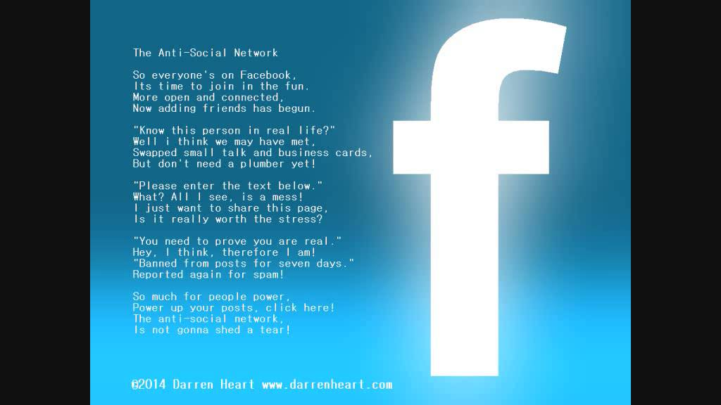 a funny poem about facebook by darren heart anti social network